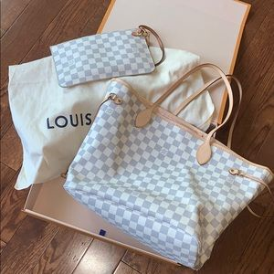 Louis Vuitton Neverfull MM Damier White Pink